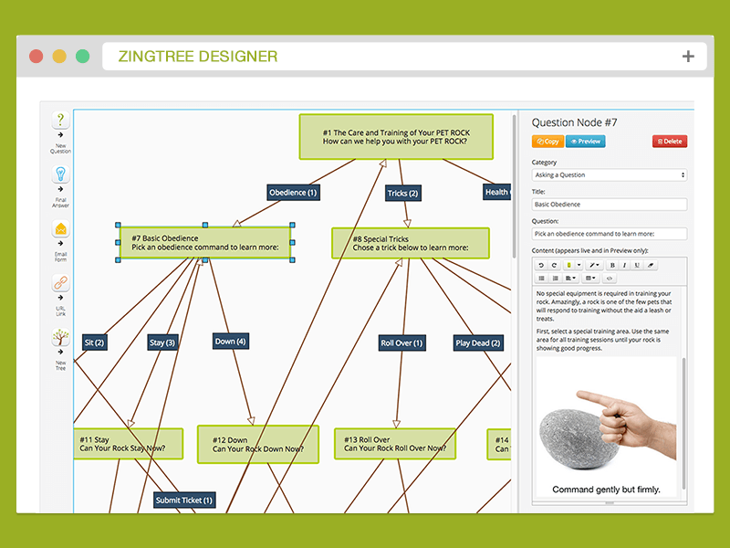 create interactive troubleshooters for support zingtree
