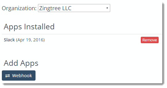 Slack installed in Zingtree